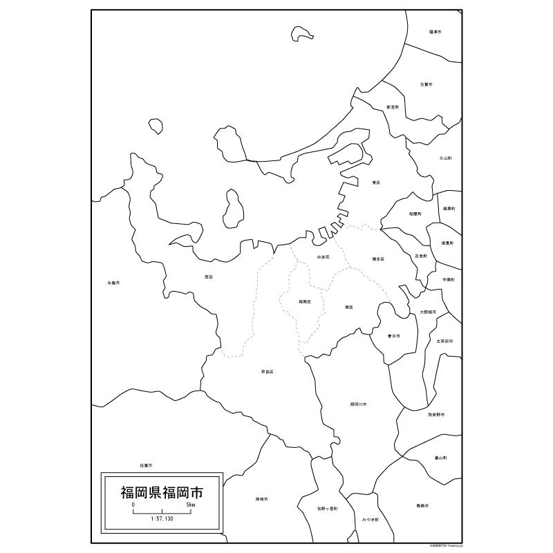 福岡市の白地図